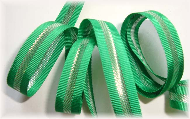 3/8 CHRISTMAS GREEN SILVER STRIPE BLING - 5 YARDS