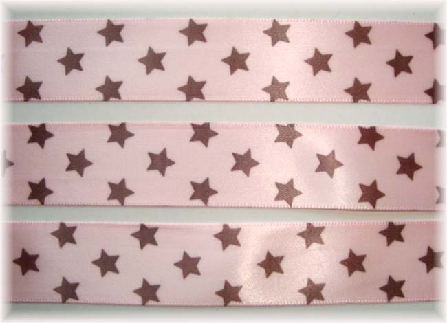 7/8 OOAK PINK BROWN SATIN STARS - 11 2/3 YARDS