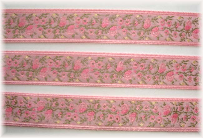 5/8 OOAK PINK FLOWERS  JACQUARD - 5+ YARDS