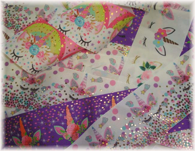 "OOAK UD82 GOODY BAG 3"" UNICORN TICK TOCK REMNANTS - 5 YARDS"