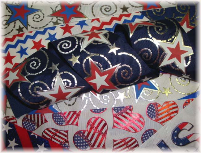 "OOAK PG22 GOODY BAG 3"" PATRIOTIC TICK TOCK REMNANTS - 5 YARDS"