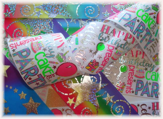"OOAK HB55 GOODY BAG 3"" BIRTHDAY TICK TOCK REMNANTS - 5 YARDS"