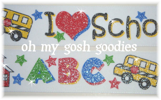 1.5 GLITTER I LOVE SCHOOL - 5 YARDS