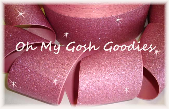 "3"" * SUPER SPARKLE * GLITTER SOLID CHEER PINK - 5 YARDS"