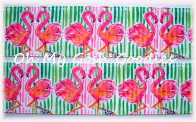 1.5 * FANCY * FLAMINGO PINK & LIME  - 5 YARDS