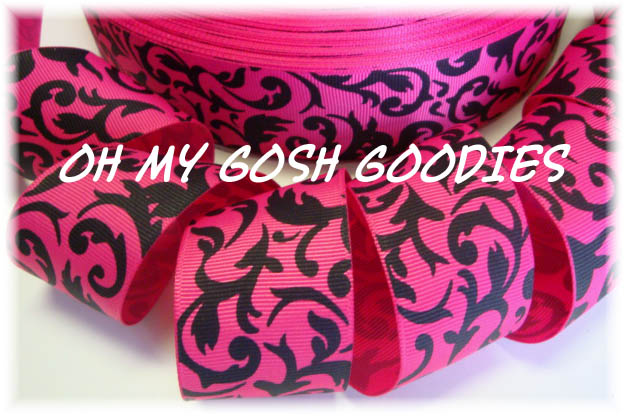 1.5 SHOCKING PINK BLACK DAMASK - 5 YARDS