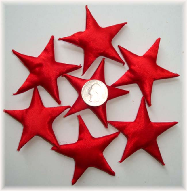 7PC RED PUFFY STAR EMBELLISHMENTS