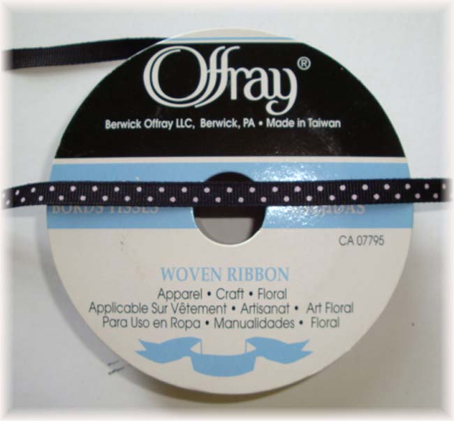 "1/4"" OFFRAY BLACK PIN DOTS - 25 YARD ROLL"