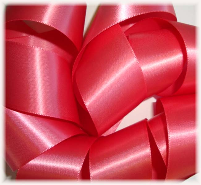 1.5 OFFRAY CORAL SATIN SALE - 5 YARDS