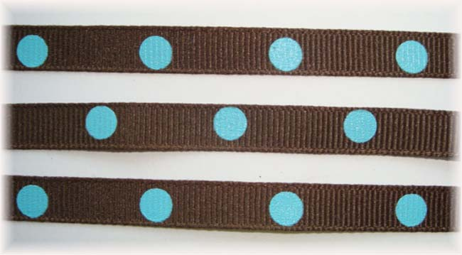 3/8 BROWN BLUE HOT DOTS - 5 YARDS