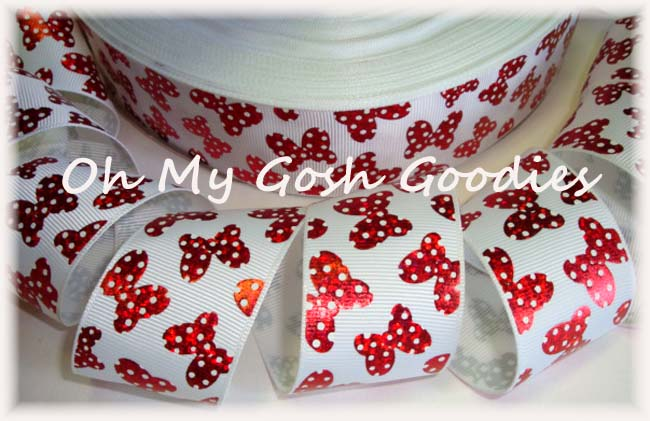 1.5 HOLOGRAM RED POLKA DOT BOWS - 5 YARDS