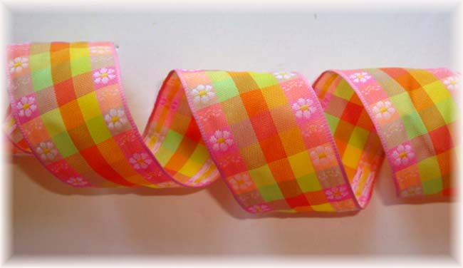 1.5 WIRED PINK LIME YELLOW FLOWER CHECK - 5 YARDS