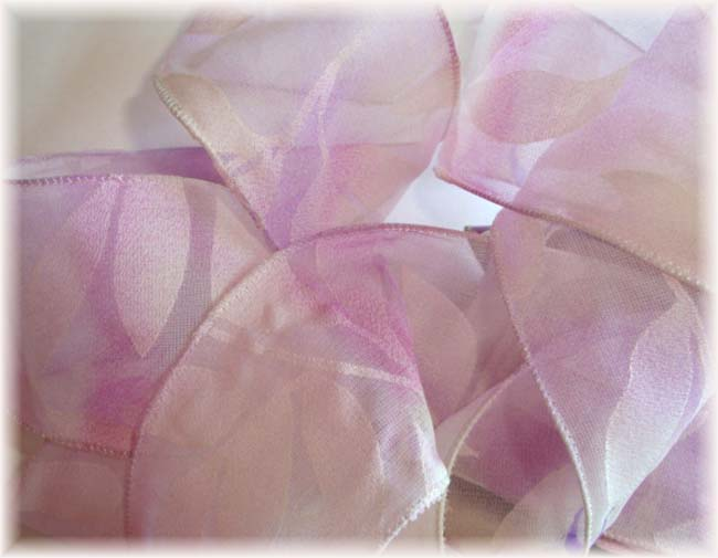 "2 1/2"" SALE WIRED ORCHID FLORAL LEAVES - 5 YARDS"