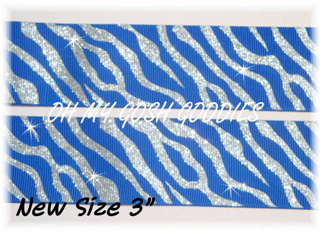 "3"" GLITTER ZEBRA ROYAL SILVER - 5 YARDS"