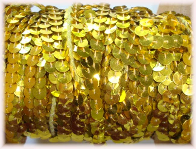"* SHINY * GOLD SINGLE SEQUIN STRAND 1/4"" - 10 YARDS"