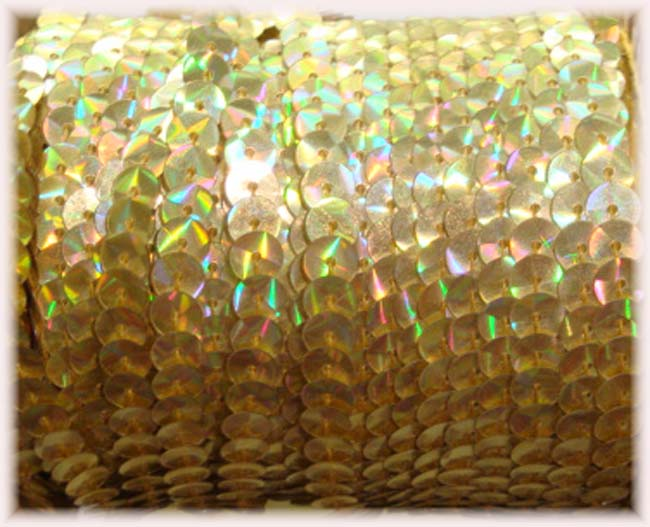"* IRRIDESCENT * GOLD SINGLE SEQUIN STRAND 1/4"" - 10 YARDS"