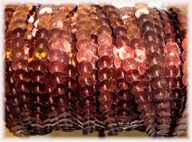 "BROWN SINGLE SEQUIN STRAND 1/4"" - 10 YARDS"