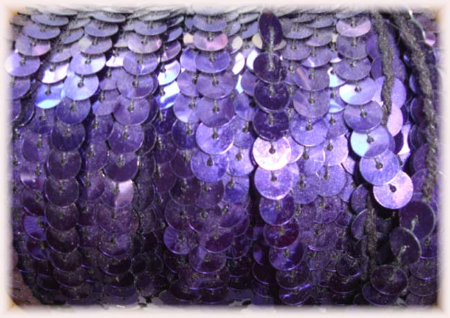 "* SHINY * PURPLE SINGLE SEQUIN STRAND 1/4"" - 10 YARDS"