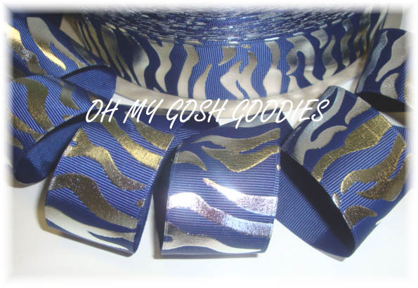 1.5 NAVY METALLIC SILVER ZEBRA - 5 YARDS