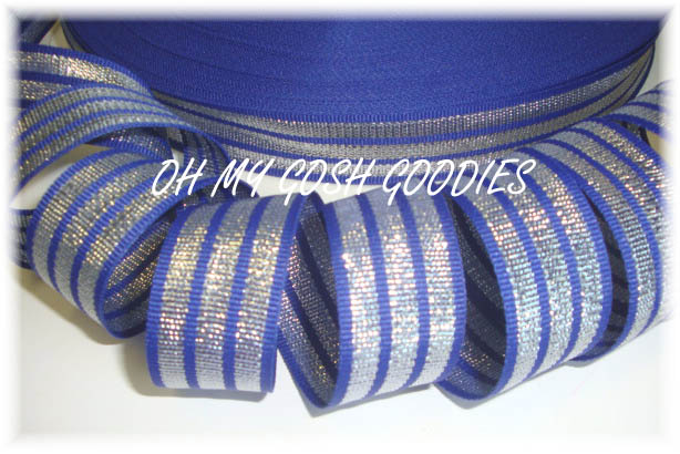 7/8 TRI-STRIPE ROYAL SILVER - 5 YARDS