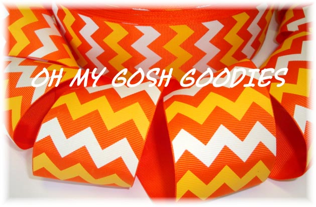 2 1/4 OOAK ORANGE YELLOW WHITE CHEVRON - 4 YARDS