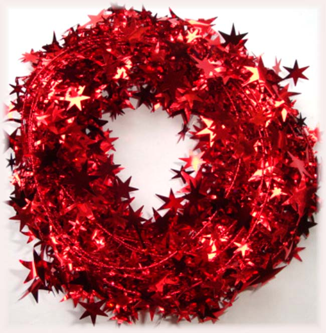 RED WIRED DELUXE STAR GARLAND - 25 FEET