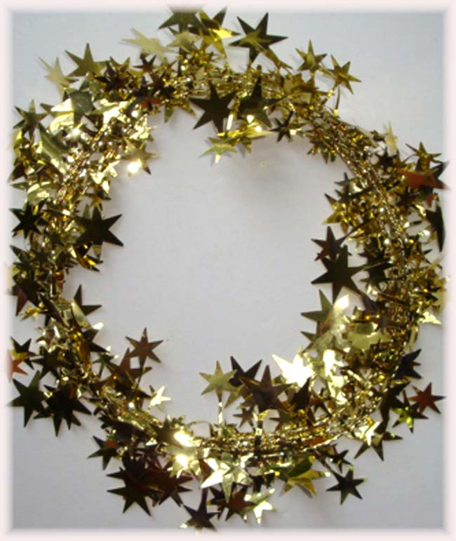 GOLD WIRED DELUXE STAR GARLAND - 9 FEET