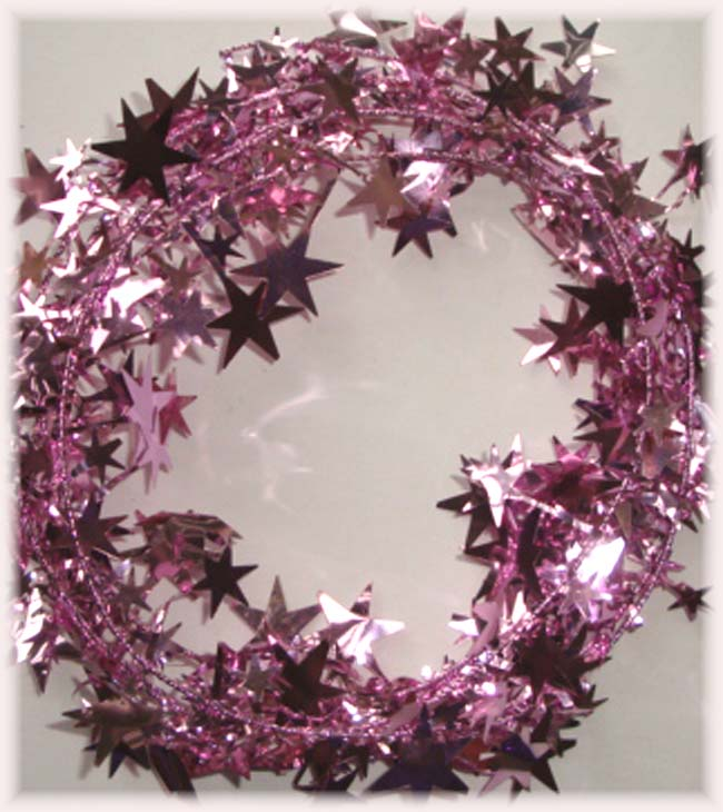 LIGHT PINK WIRED DELUXE STAR GARLAND -9 FEET