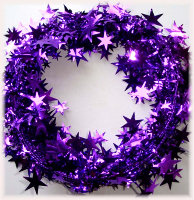 PURPLE WIRED DELUXE STAR GARLAND - 25 FEET