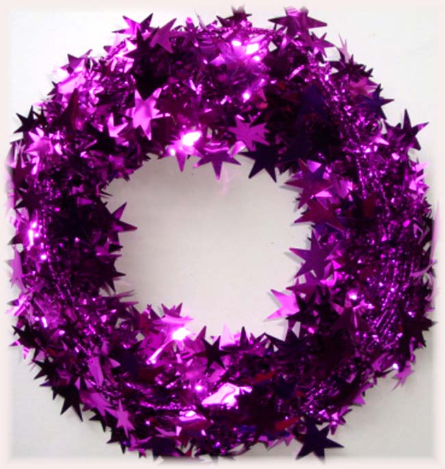 FUSCHIA PINK WIRED DELUXE STAR GARLAND - 25 FEET