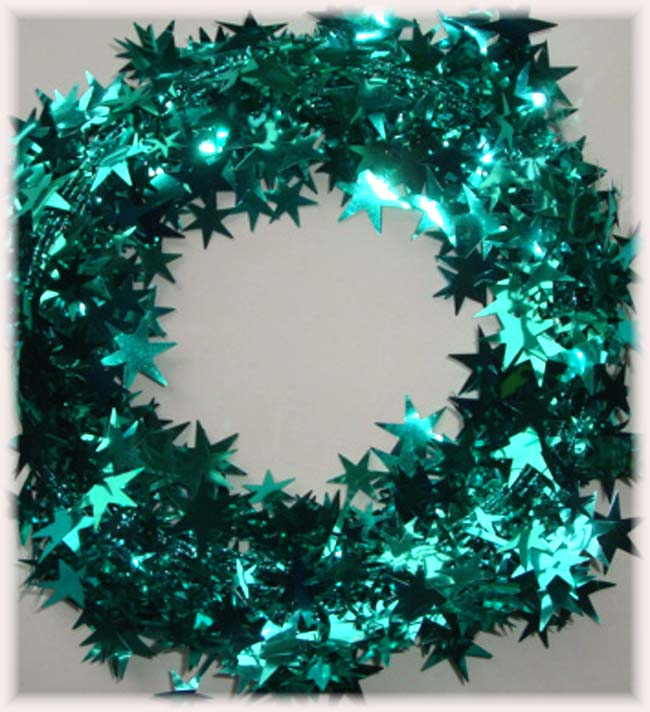 TEAL JADE WIRED DELUXE STAR GARLAND - 25 FEET
