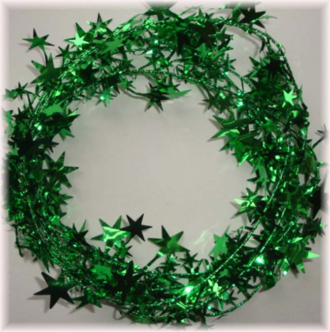 GREEN WIRED DELUXE STAR GARLAND - 9 FEET