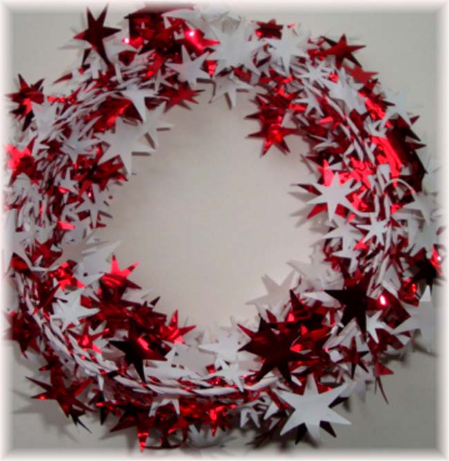RED & WHITE WIRED DELUXE STAR GARLAND - 25 FEET