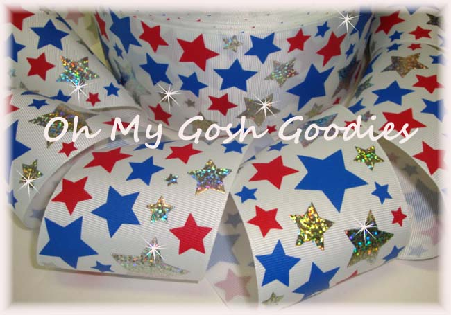 "3"" * PIZZAZZ * PATRIOTIC STARS SILVER HOLOGRAM - 5 YARDS"