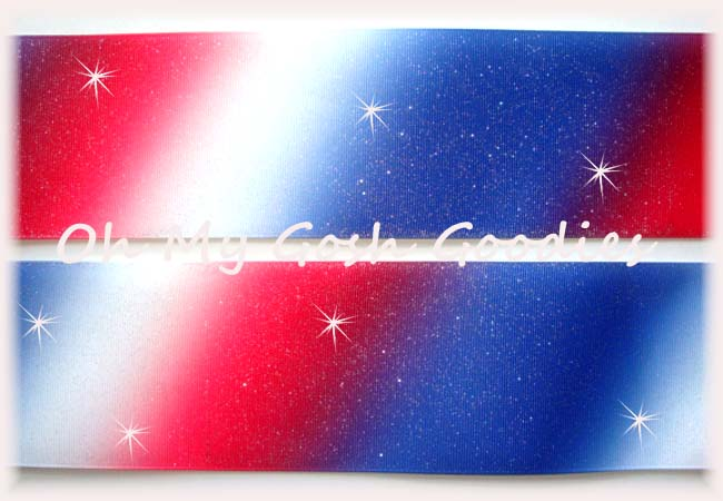 "3"" * RED WHITE ROYAL DIAGONAL OMBRE * PATRIOTIC - 5 YARDS"