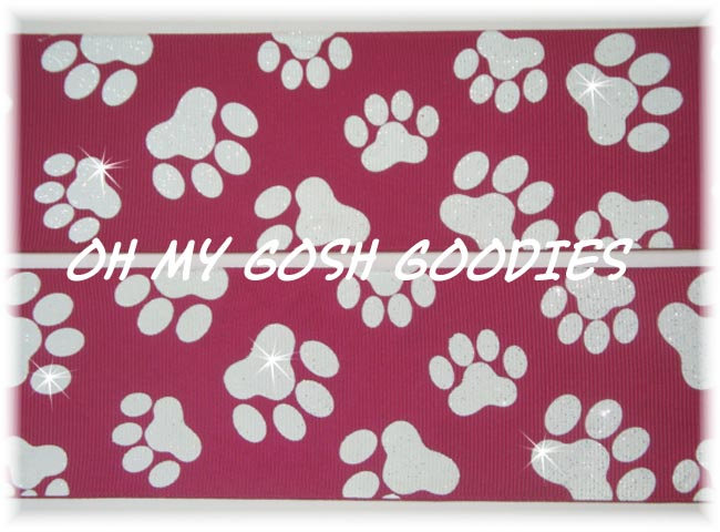 2 1/4 GLITTER PAWS MAROON WHITE - 5 YARDS