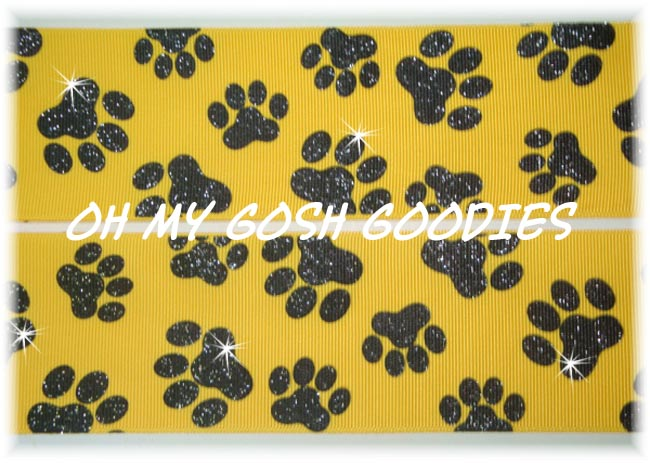 2 1/4 GLITTER PAWS YELLOW GOLD BLACK - 5 YARDS