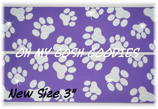 "3"" * IRREGULAR * GLITTER PAWS PURPLE WHITE - 5 YARDS"