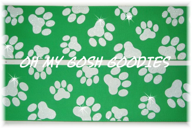 2 1/4 GLITTER PAWS GREEN WHITE - 5 YARDS