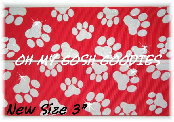 "3"" OOAK GLITTER PAWS RED WHITE - 4 YARDS"
