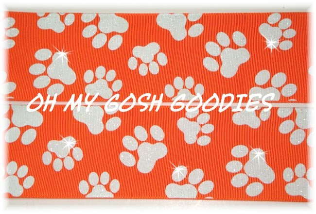 2 1/4 GLITTER PAWS ORANGE WHITE - 5 YARDS