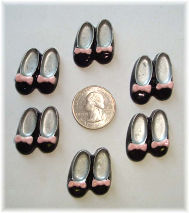 2PC * PINK BOWS * BLACK SLIPPER SHOES