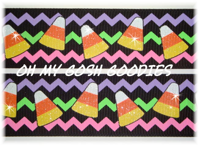 1.5 GLITTER NEON CHEVRON CANDY CORN - 5 YARDS