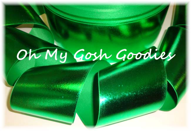 "3"" VINYL GREEN METALLIC CHEER RIBBON - 5 YARDS"