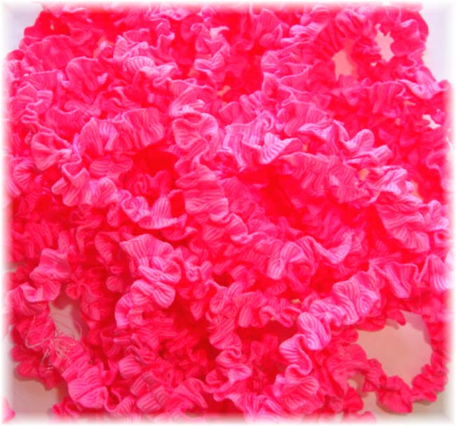 "ONE OF A KIND CR81 3/8"" OFFRAY NEON PINK KRUNCHIE RIBBON - 13 1/2 YARDS"