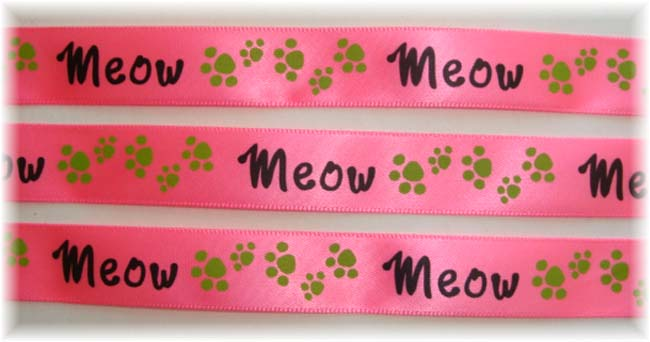 5/8 NEON PINK SATIN MEOW CAT PRINTS - 5 YARDS