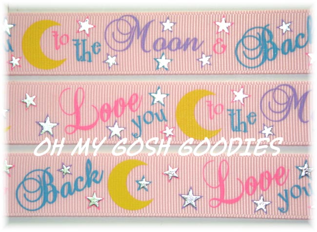 7/8 LOVE YOU TO THE MOON & BACK PINK - 5 YARDS