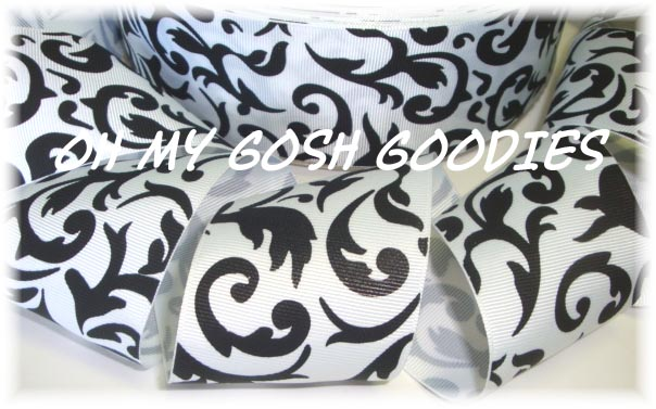 2 1/4 OOAK WHITE BLACK DAMASK - 3 YARDS