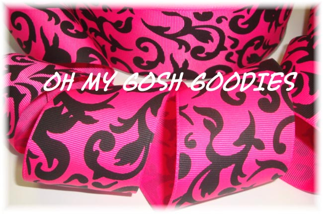 2 1/4 SHOCKING PINK BLACK DAMASK - 5 YARDS