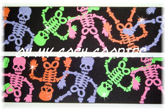 1.5 OOAK NEON GLITTER SKELETONS - 4 YARDS